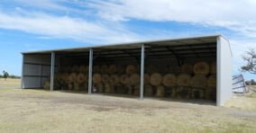 Open end hay shed