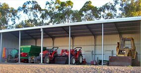 Open front machinery shed